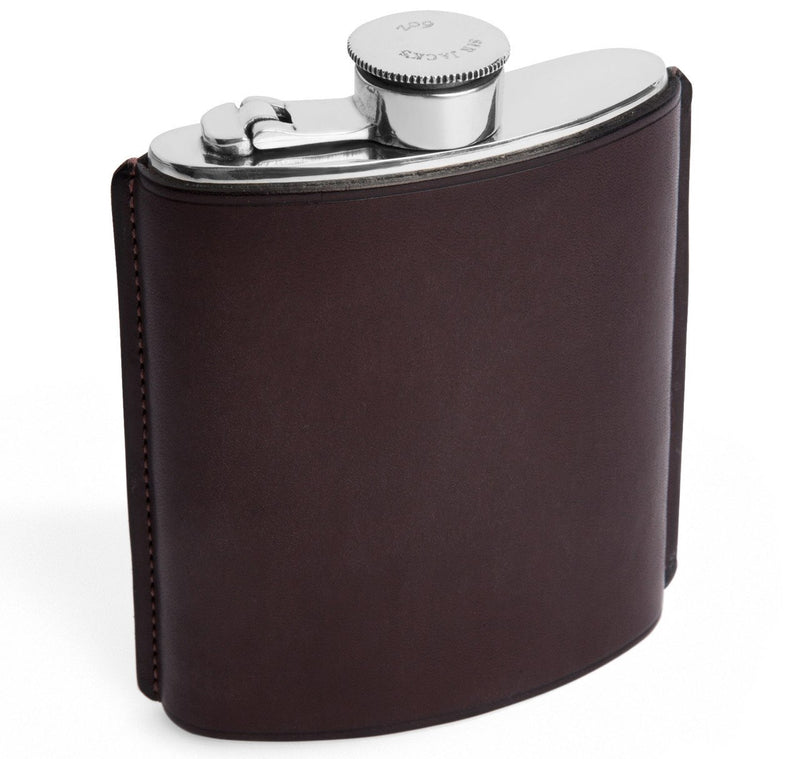 6oz Brown Leather Kidney Captive Top Flask