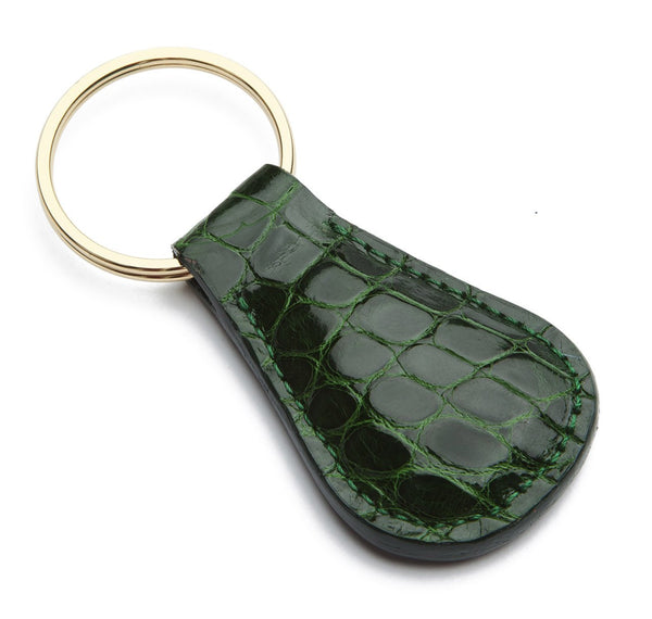 Glazed Forest Green Alligator Key Fob