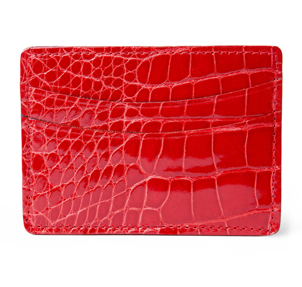 Glazed Red Alligator Card Holder