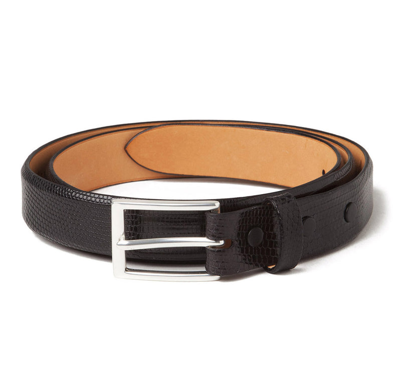 Sir Jack's Lizard Belt in Black