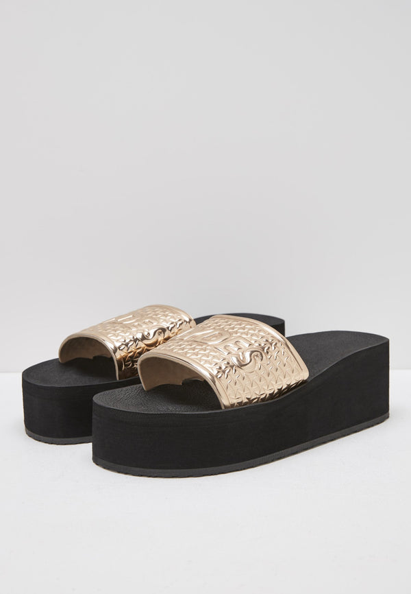 Bronx Women's Black/Rose Gold Sliders