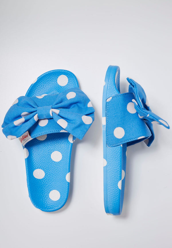Cath Kidston x Slydes Women's Blue Button Spot Sliders