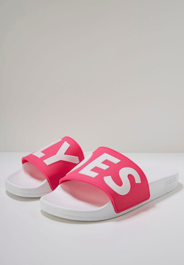 Deflect Women's White/Neon Pink Sliders