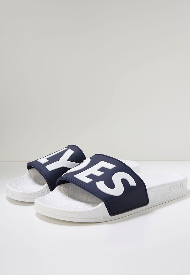 Deflect Men's White/Navy Sliders