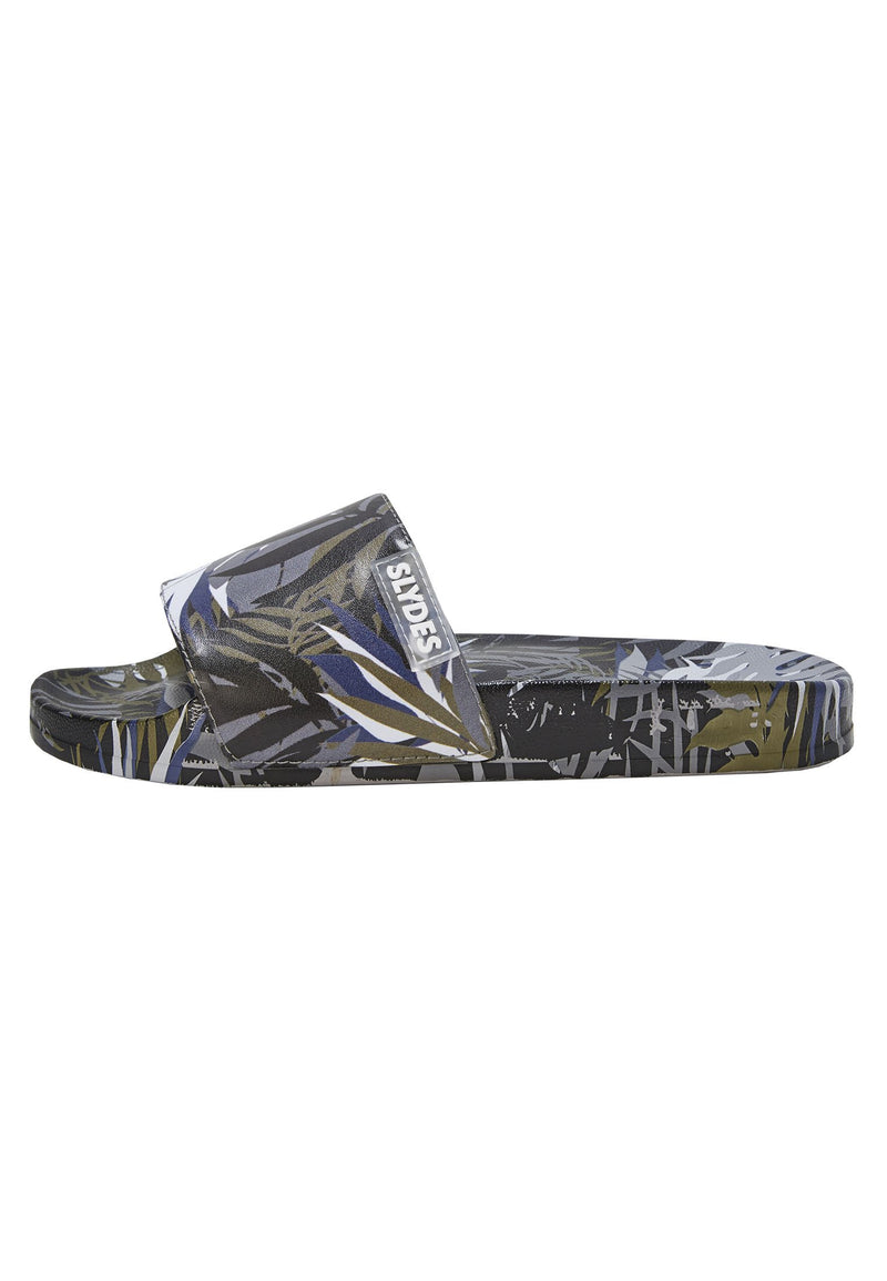 Cyberise Men's Black Print Sliders