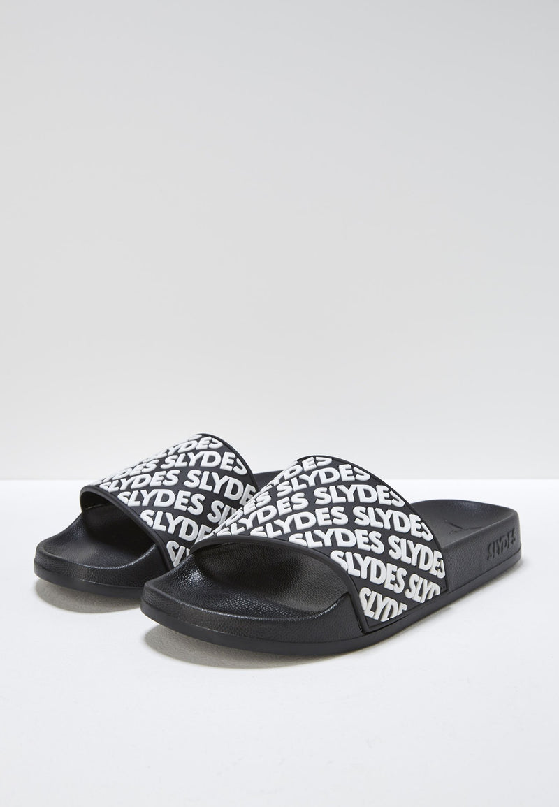 Lucid Men's Black and White Sliders