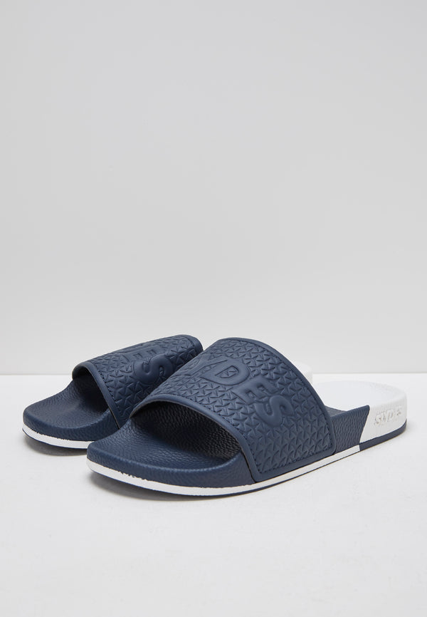 Split White and Navy Women's Slider Sandals