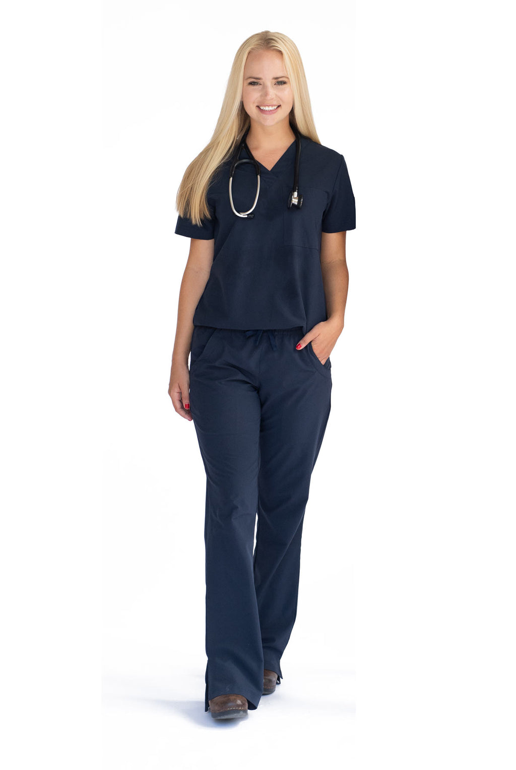 Amelia Athletic Scrub Top with Custom South University embroidery