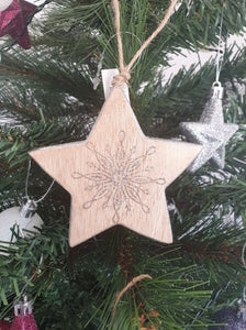 WOODEN STAR ORNAMENT - CHRISTMAS DECORATIONS