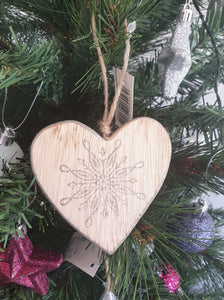 WOODEN HEART CHRISTMAS ORNAMENT - CHRISTMAS DECORATION