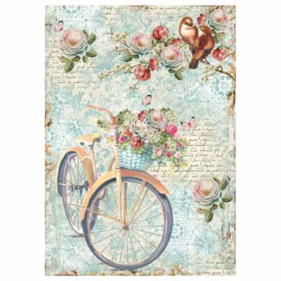 BIKE AND BRANCH WITH FLOWERS RICE PAPER