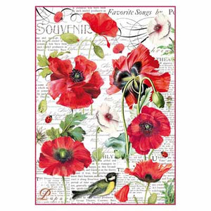 BOTANIC POPPY *** STAMPERIA RICE PAPER