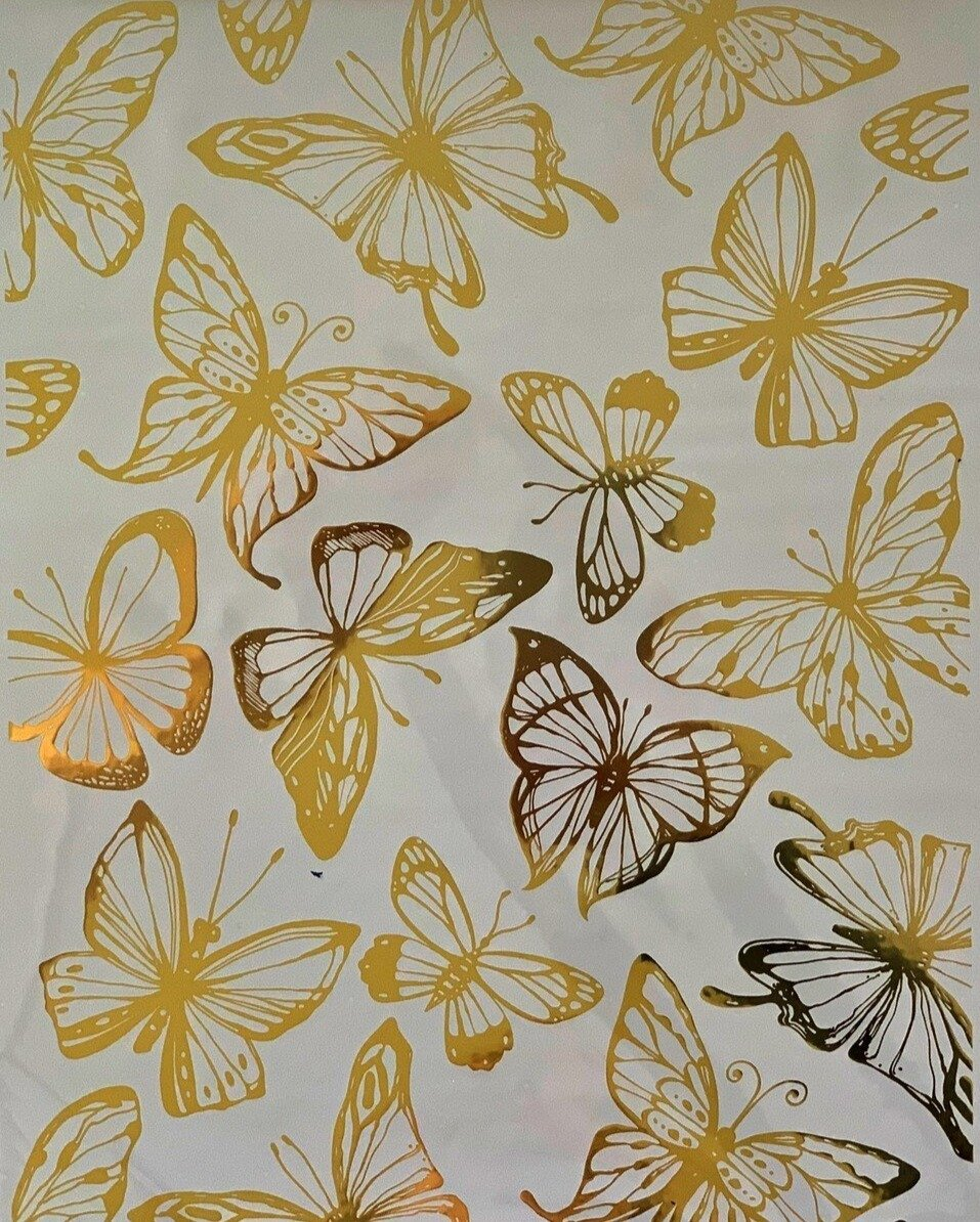 GOLD FOIL BUTTERFLIES *** HOKUS POKUS DECOR TRANSFER