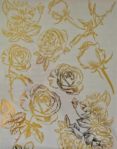 GOLD FOIL ROSES *** HOKUS POKUS DECOR TRANSFER