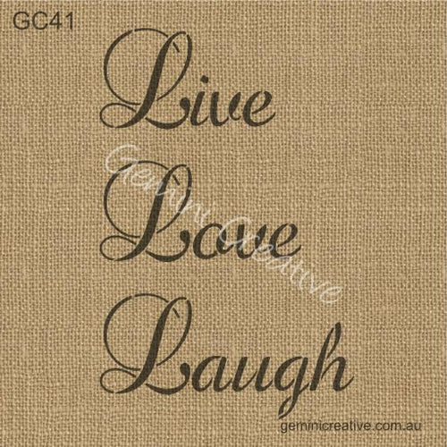 LIVE LOVE LAUGH SCRIPT STENCIL - GEMINI CREATIVE
