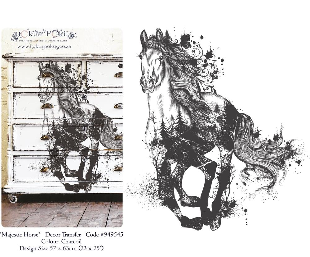 MAJESTIC HORSE - CHARCOAL *** HOKUS POKUS DECOR TRANSFER