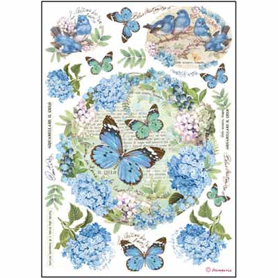 ORTENSIE AND BUTTERFLY *** STAMPERIA RICE PAPER