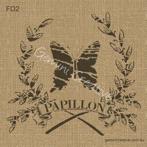 PAPILLON IN WREATH STENCIL