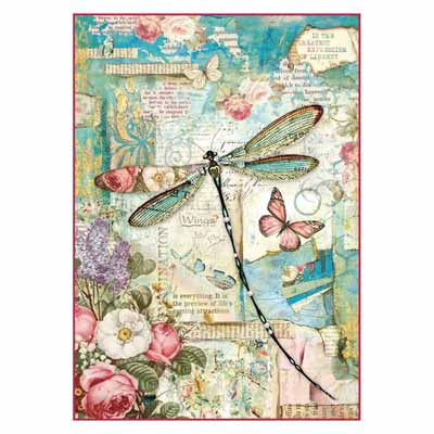WONDERLAND DRAGONFLY *** STAMPERIA RICE PAPER