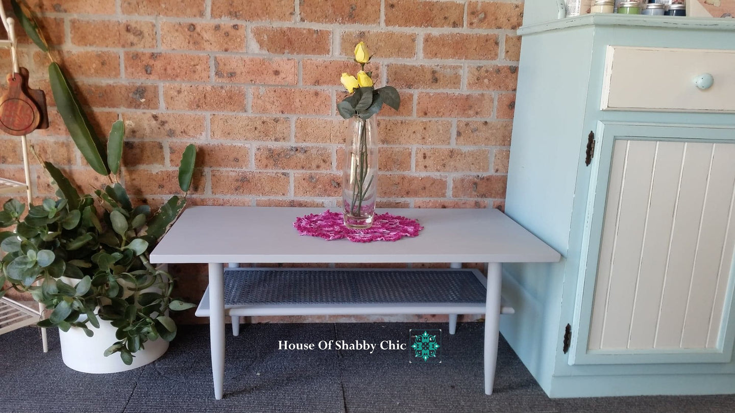 RETRO COFFEE TABLE WITH RATAN SHELF