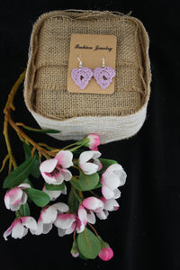 LILAC HEART CROCHETED EARRINGS