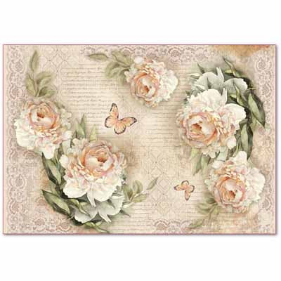 PEONY AND LACES *** STAMPERIA RICE PAPER