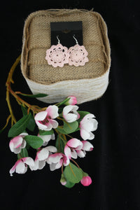 PINK FLOWER DOILY EARRINGS