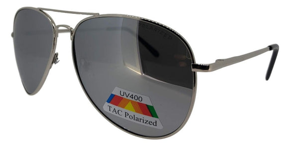 P326D Silver Mirror Polarized Aviator Sunglasses