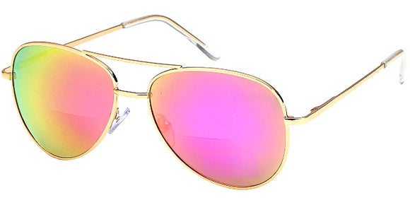516QSBF-Pink Bifocal Aviator Color Mirror Lens Sunglasses