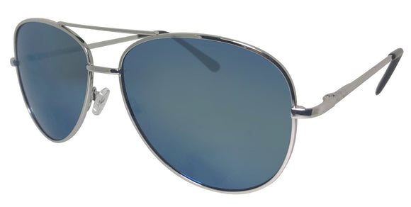 516QBF-Ice Blue Bifocal Aviator Color Mirror Lens Sunglasses