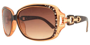 F2676B Brown Chain Link Rhinestone Sunglasses