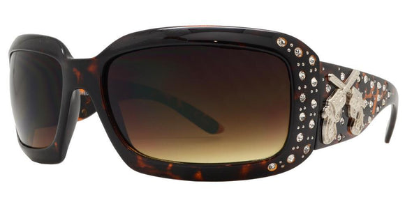 L8784ez Guns Brown Cowgirl Sunglasses