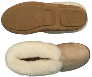 Booty Slipper - Rubber Sole - White Cream Fleece (Women's and Men's)