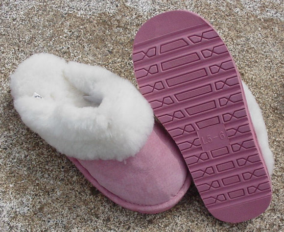 Scuff Slipper - Pink - Rubber Sole (Women's)