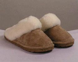 Scuff Slipper - Tan - Rubber Sole (Women's)