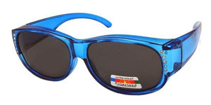 fors9674 Rhinestone Ladies Blue Polarized Fit Over