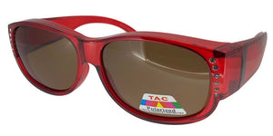 fors9674 Rhinestone Ladies Red Polarized Fit Over
