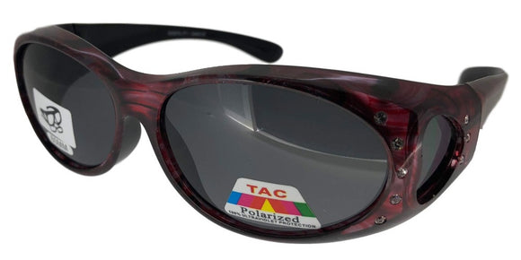 fors9977b Rhinestone Ladies Designer Red Polarized Fit Over