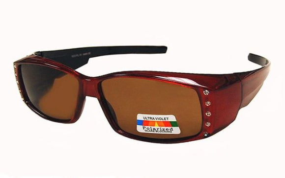 fo6996b Skinny Rectangle Brown Polarized Fit Over Sunglasses