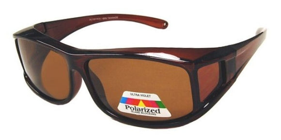 fo8188b Medium Rectangle Brown Polarized Fit Over Sunglasses