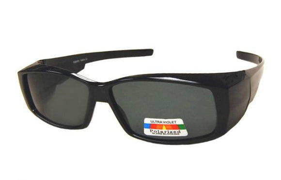 fo6996b Skinny Rectangle Black Polarized Fit Over Sunglasses