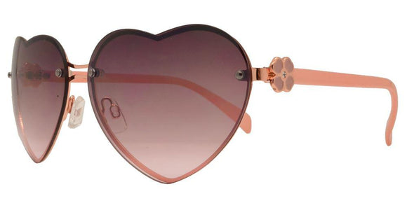 L7241ez Pink Heart Flower Sunglasses