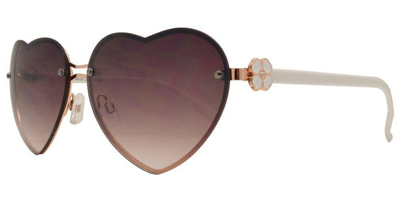 L7241ez White Heart Flower Sunglasses