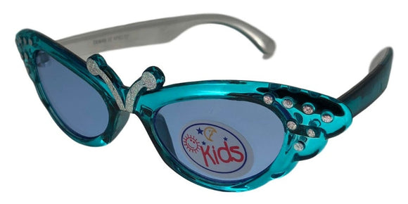 K0128 Turquoise Butterfly Kids Sunglasses