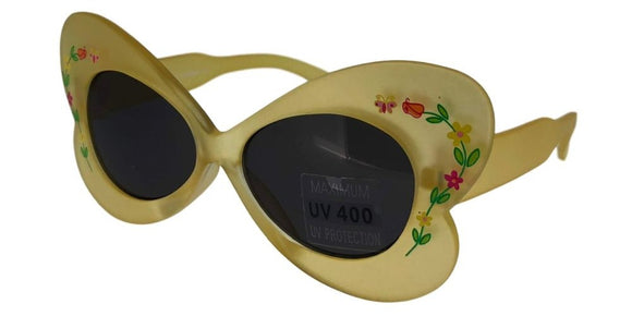 K44813B Yellow Butterfly Kids Sunglasses