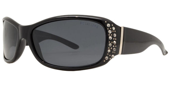 pL8919ez Black Ladies Rhinestone Polarized Sunglasses