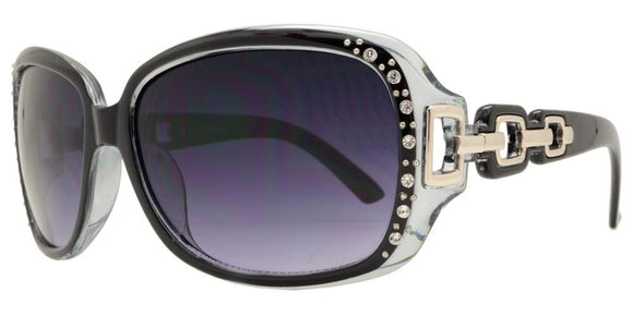 pL2676b Black Ladies Rhinestone Polarized Sunglasses