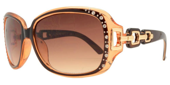 pL2676b Brown Ladies Rhinestone Polarized Sunglasses