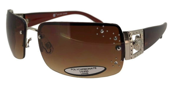F9312QS Brown Metal Rhinestone Sunglasses