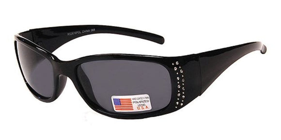 pL2616b Black Ladies Rhinestone Polarized Sunglasses